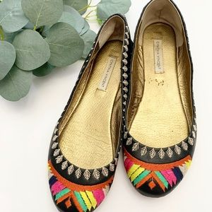 Cynthia Vincent leather black embroidered flats